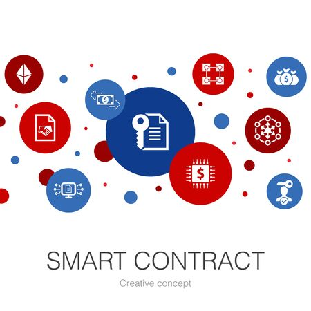 Smart Contract trendy circle template with simple icons. Contains such elements as blockchain, transaction, decentralization, fintech Banco de Imagens - 132122742