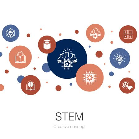 STEM trendy circle template with simple icons. Contains such elements as science, technology, engineering, mathematics Banco de Imagens - 132123729