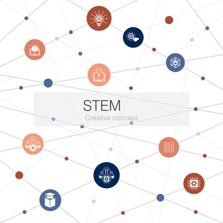 STEM trendy web template with simple icons. Contains such elements as science, technology, engineering, mathematics