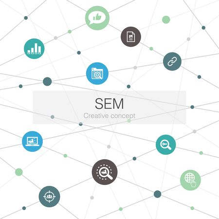 SEM trendy web template with simple icons. Contains such elements as Search engine, Digital marketing, Content, Internet Banque d'images - 132124047