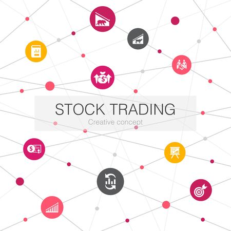 stock trading trendy web template with simple icons. Contains such elements as bull market, bear market, annual report, target Banco de Imagens - 132123970