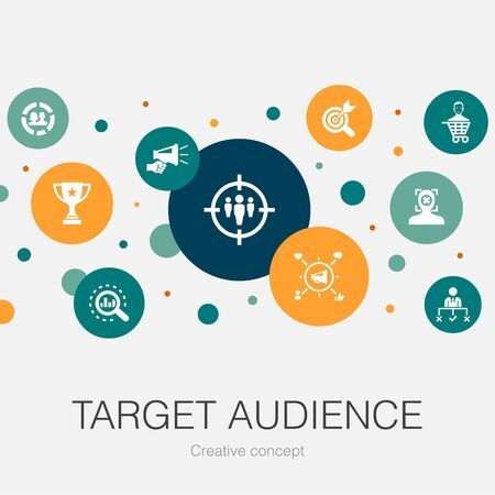 target audience trendy circle template with simple icons. Contains such elements as consumer, demographics, niche, promotion Banco de Imagens - 132123415
