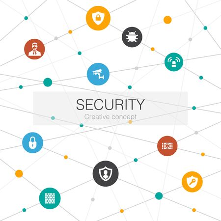 Security trendy web template with simple icons. Contains such elements as protection, security camera, key, bomb