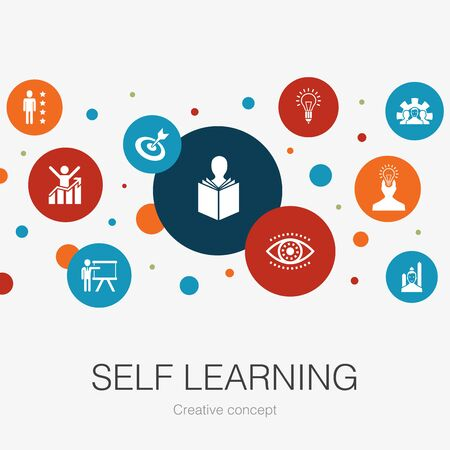 Self learning trendy circle template with simple icons. Contains such elements as personal growth, inspiration, creativity, development Banco de Imagens - 132122642