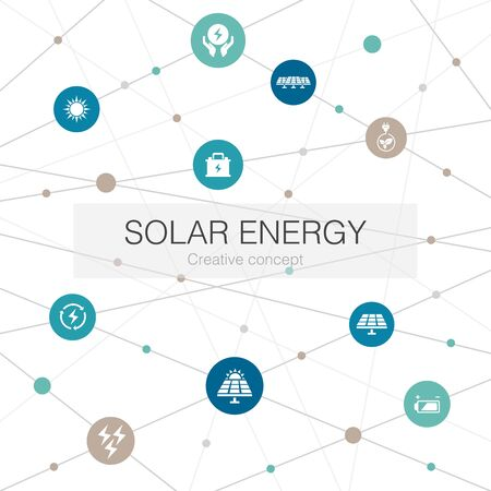 Solar energy trendy web template with simple icons. Contains such elements as Sun, battery, renewable energy, clean energy