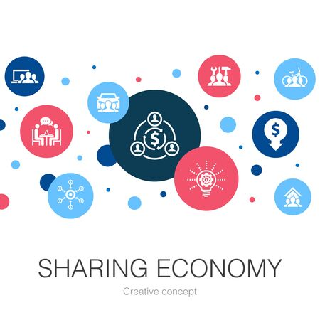 Sharing economy trendy circle template with simple icons. Contains such elements as coworking, car sharing, Crowdfunding, innovation Stok Fotoğraf - 132122173