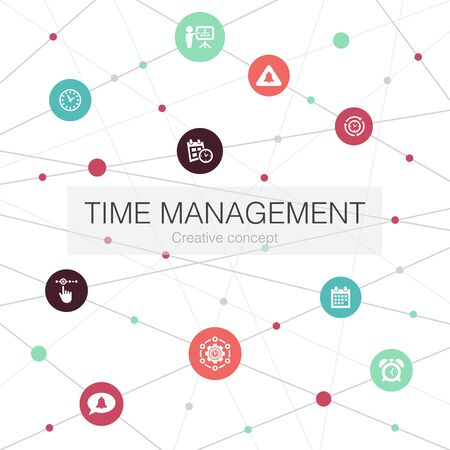 Time Management trendy web template with simple icons. Contains such elements as efficiency, reminder, calendar, planning Stockfoto - 132122307