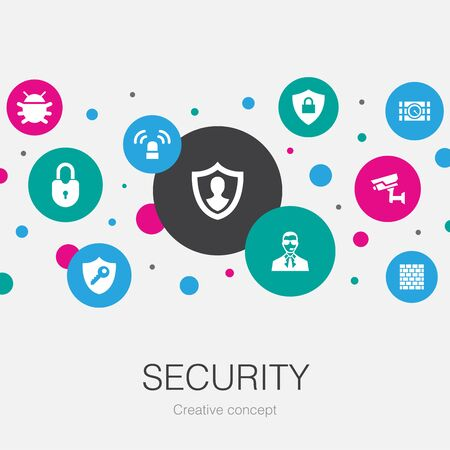 Security trendy circle template with simple icons. Contains such elements as protection, security camera, key, bomb