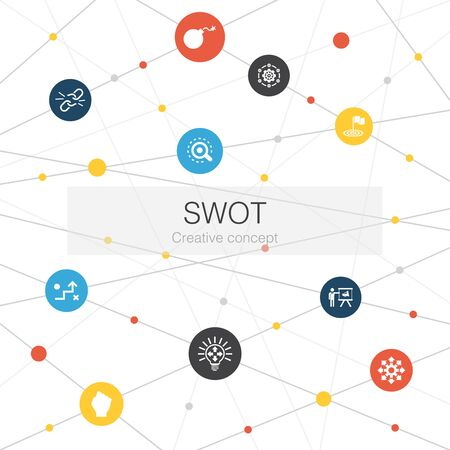 SWOT trendy web template with simple icons. Contains such elements as Strength, weakness, opportunity, threat
