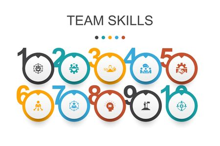 team skills Infographic design template. Collaboration, cooperation, teamwork, communication simple icons  イラスト・ベクター素材