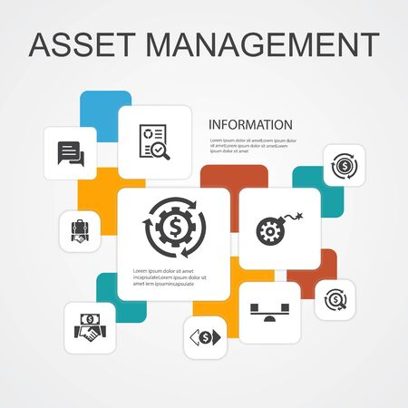asset management Infographic 10 line icons template.audit, investment, business, stability simple icons