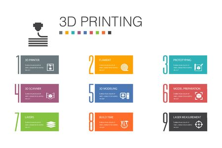 3d printing Infographic 10 option line concept.3d printer, filament, prototyping, model preparation simple icons
