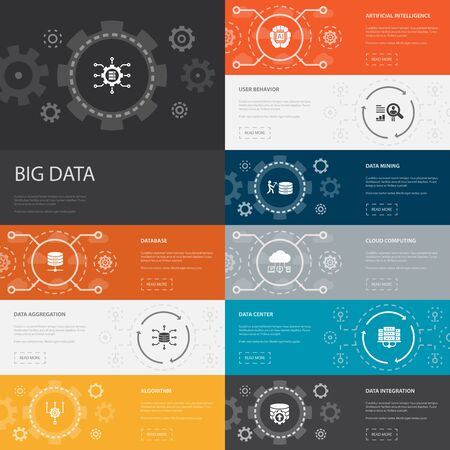 Big data Infographic 10 line icons banners. Database, Artificial intelligence, User behavior, Data center simple icons