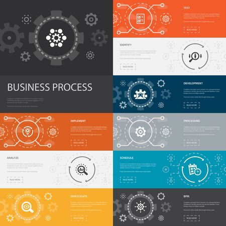 Business process Infographic 10 line icons banners. implement, analyze, development, Processing simple icons