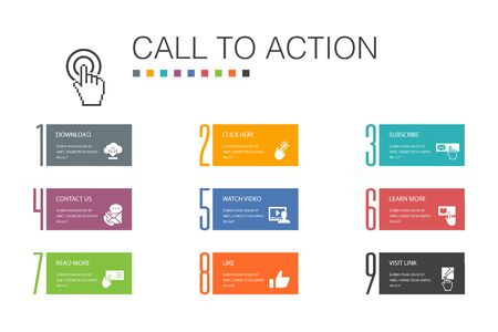 Call To Action Infographic 10 option line concept.download, click here, subscribe, contact us simple icons