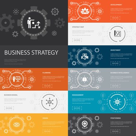 Business strategy Infographic 10 line icons banners. planning, business model, vision, development simple icons