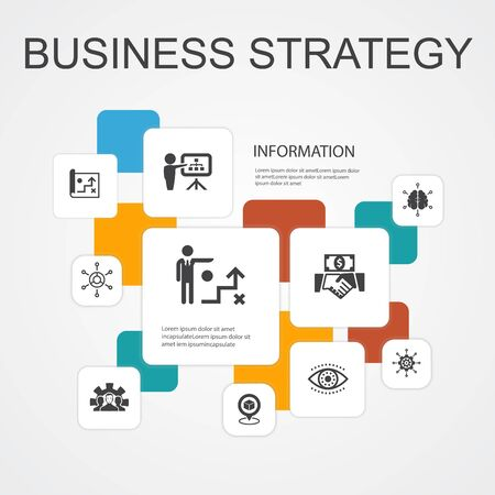 Business strategy Infographic 10 line icons template.planning, business model, vision, development simple icons Banco de Imagens - 132286783
