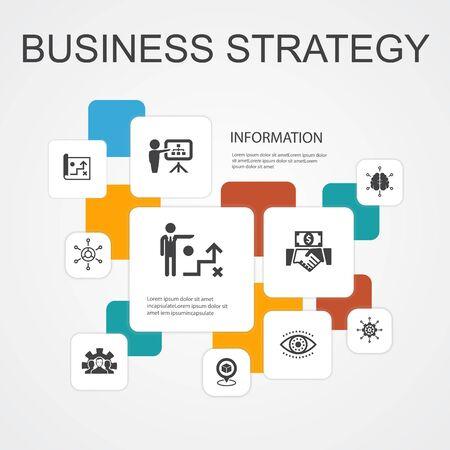 Strategia biznesowa Infografika 10 linii ikon template.planning, model biznesowy, wizja, rozwój prostych ikon