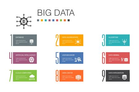 Big data Infographic 10 option line concept.Database, Artificial intelligence, User behavior, Data center simple icons
