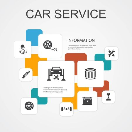 Car service Infographic 10 line icons template.disk brake, suspension, spare parts, Transmission simple icons