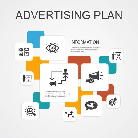 Advertising Plan Infographic 10 line icons template.marketing, strategy, planning, target simple icons