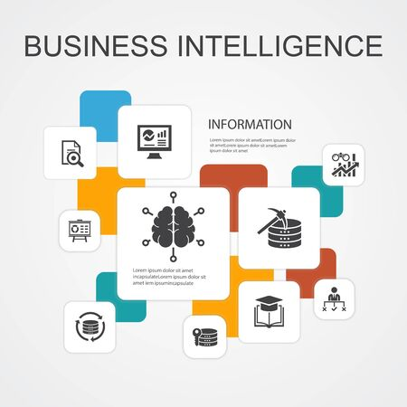 Business Intelligence Infographic 10 line icons template.data mining, knowledge, visualization, decision simple icons Ilustración de vector