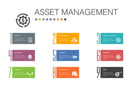 asset management Infographic 10 option line concept.audit, investment, business, stability simple icons Ilustração
