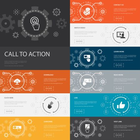Call To Action Infographic 10 line icons banners. download, click here, subscribe, contact us simple icons Illustration