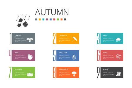 Autumn Infographic 10 option line concept.oak nut, rain, wind, pumpkin simple icons