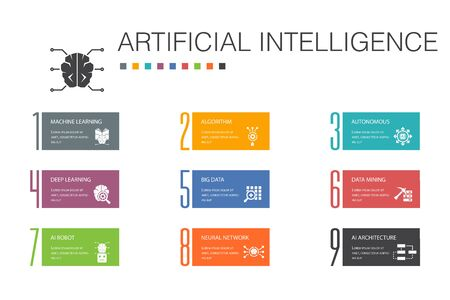 Artificial Intelligence Infographic 10 option line concept.Machine learning, Algorithm, Deep learning, Neural network simple icons