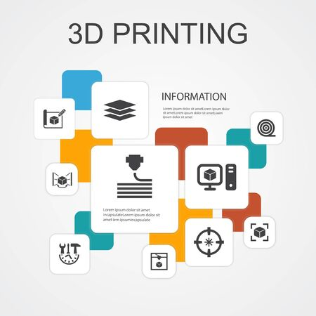 3d printing Infographic 10 line icons template.3d printer, filament, prototyping, model preparation simple icons Illustration