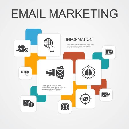 Email Marketing Infographic 10 line icons template.subscribe, compose mail, Blacklist, internet simple icons