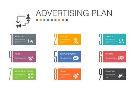 Advertising Plan Infographic 10 option line concept.marketing, strategy, planning, target simple icons