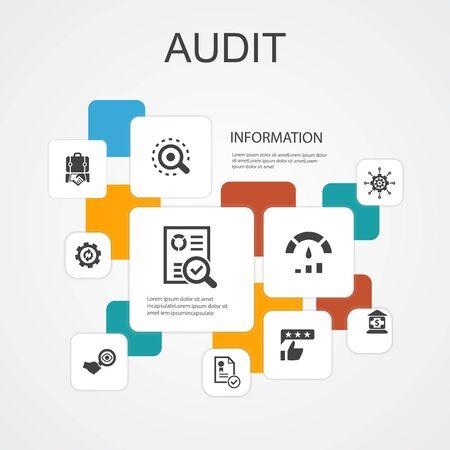 audit Infographic 10 line icons template.review, standard, examine, process simple icons Ilustração