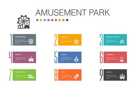 amusement park Infographic 10 option line concept.Ferris wheel, Carousel, Roller coaster, carnival simple icons