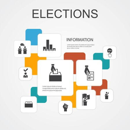 Elections Infographic 10 line icons template.Voting, Ballot box, Candidate, Exit poll simple icons Illustration