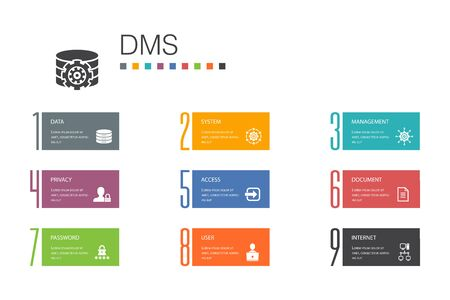 DMS Infographic 10 option line concept.system, management, privacy, password simple icons