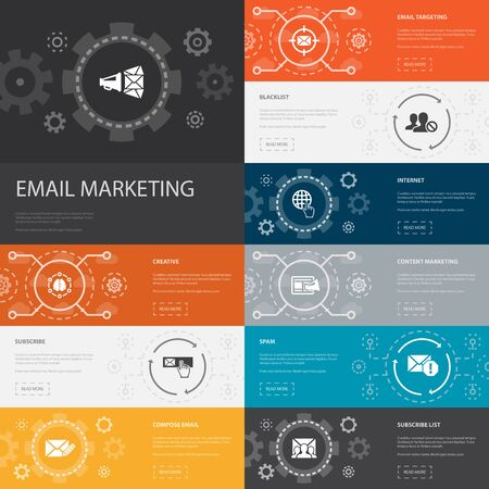 Email Marketing Infographic 10 line icons banners. subscribe, compose mail, Blacklist, internet simple icons 일러스트