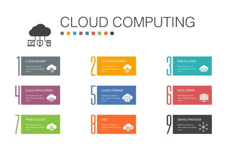 Cloud computing Infographic 10 option line concept.Cloud Backup, data center, SaaS, Service provider simple icons