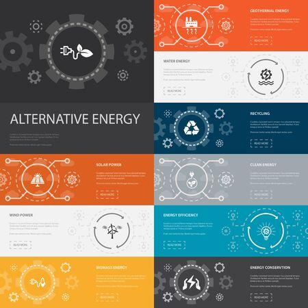 Alternative energy Infographic 10 line icons banners. Solar Power, Wind Power, Geothermal Energy, Recycling simple icons