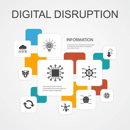 digital disruption Infographic 10 line icons template.technology, innovation, IOT, digitization icons simple icons
