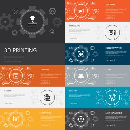 3d printing Infographic 10 line icons banners. 3d printer, filament, prototyping, model preparation simple icons