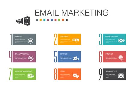 Email Marketing Infographic 10 option line concept.subscribe, compose mail, Blacklist, internet simple icons