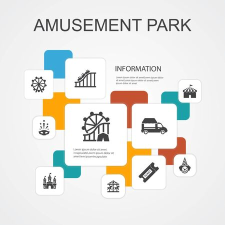 amusement park Infographic 10 line icons template.Ferris wheel, Carousel, Roller coaster, carnival simple icons Фото со стока - 132286857