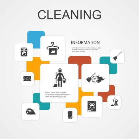 Cleaning Infographic 10 line icons template.broom, trash can, sponge, dry cleaning simple icons