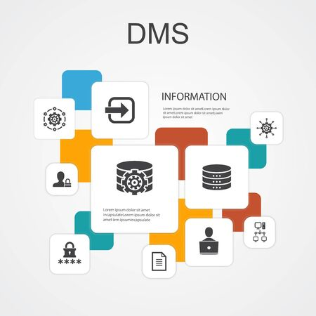 DMS Infographic 10 line icons template.system, management, privacy, password simple icons Ilustração
