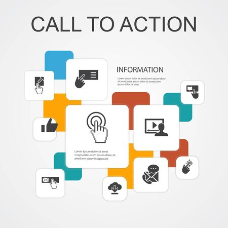 Call To Action Infographic 10 line icons template.download, click here, subscribe, contact us simple icons  イラスト・ベクター素材