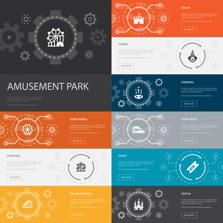 amusement park Infographic 10 line icons banners. Ferris wheel, Carousel, Roller coaster, carnival simple icons