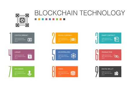 blockchain technology Infographic 10 option line concept.cryptocurrency, digital currency, smart contract, transaction simple icons Stock Illustratie