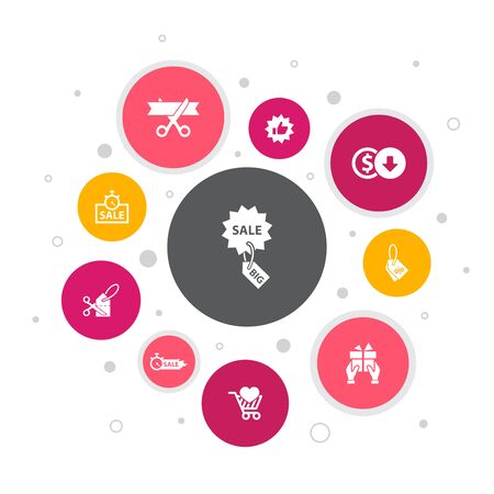 big sale Infographic 10 steps bubble design. discount, shopping, special offer, best choice simple icons  イラスト・ベクター素材